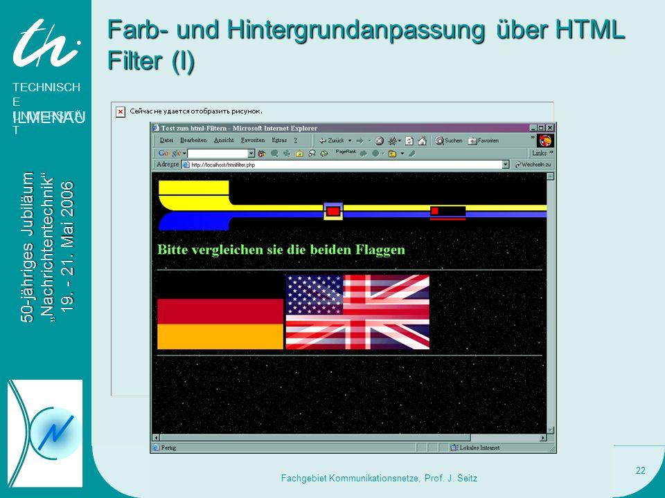 Farb- und Hintergrundanpassung über HTML Filter (I)