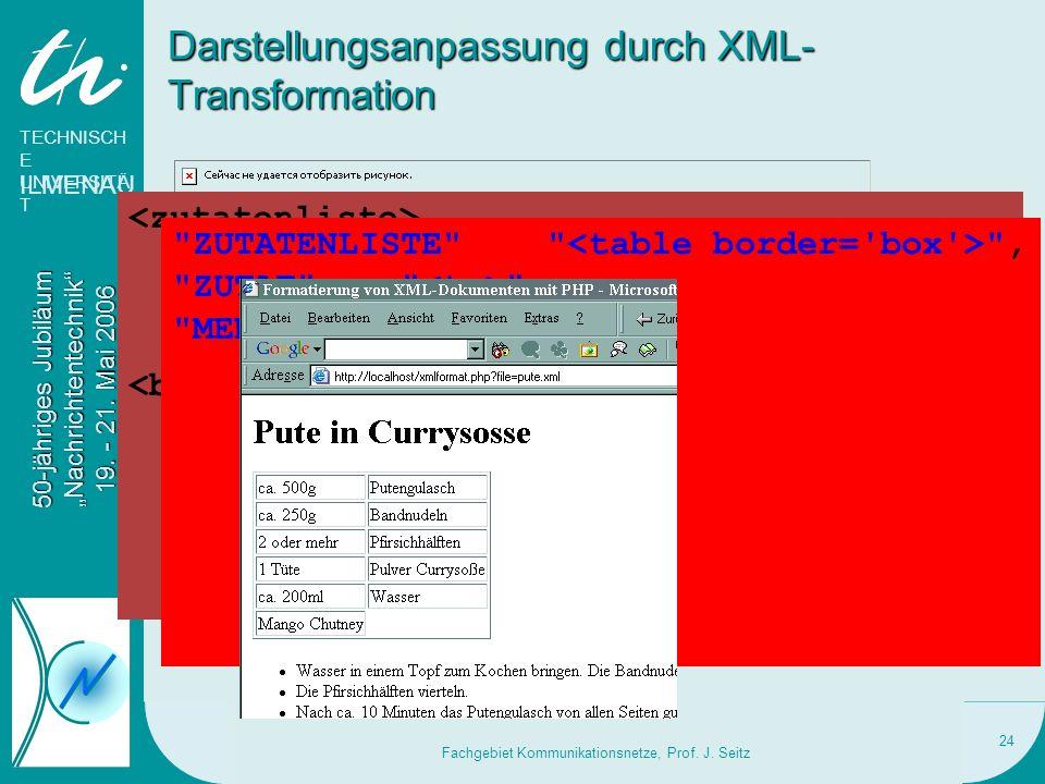 Darstellungsanpassung durch XML-Transformation