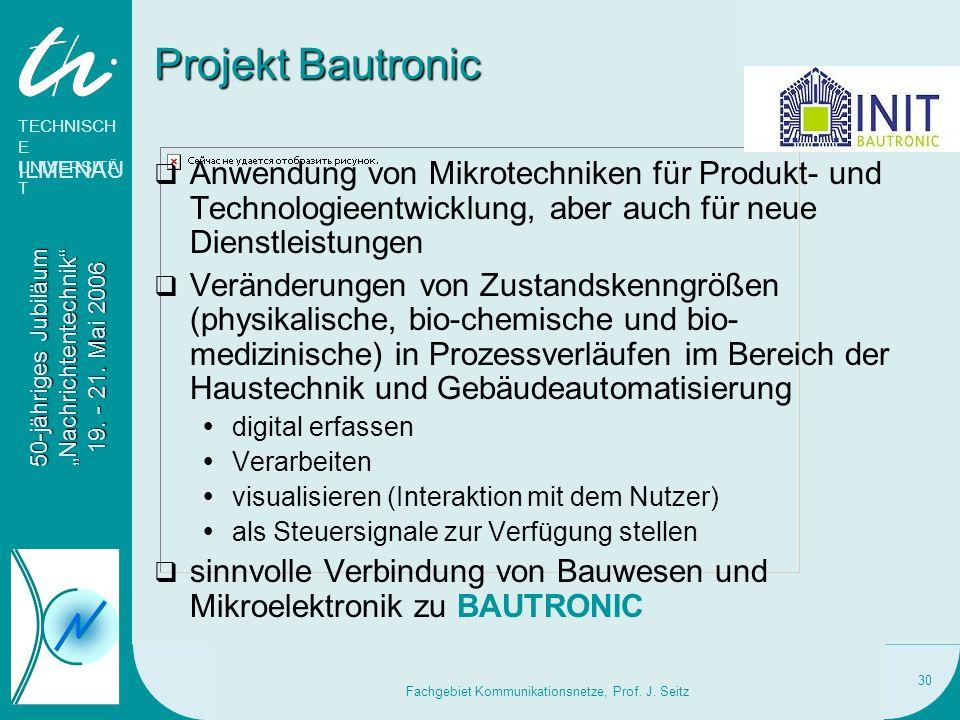 Fachgebiet Kommunikationsnetze, Prof. J. Seitz