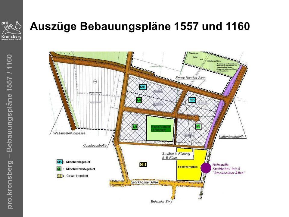 Auszüge Bebauungspläne 1557 und 1160