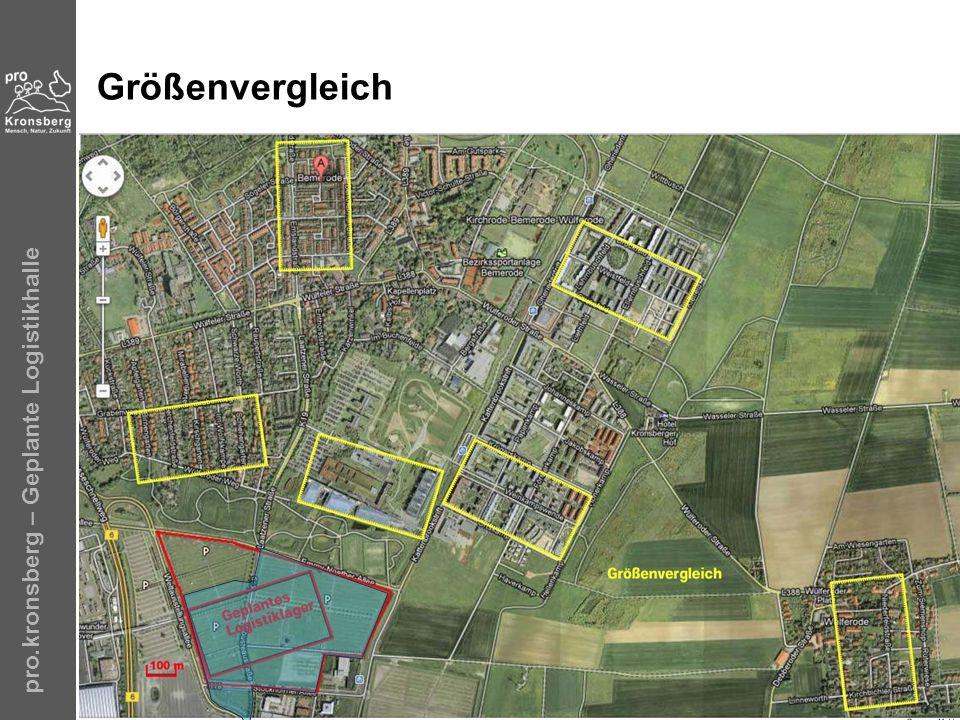 Größenvergleich pro.kronsberg – Geplante Logistikhalle