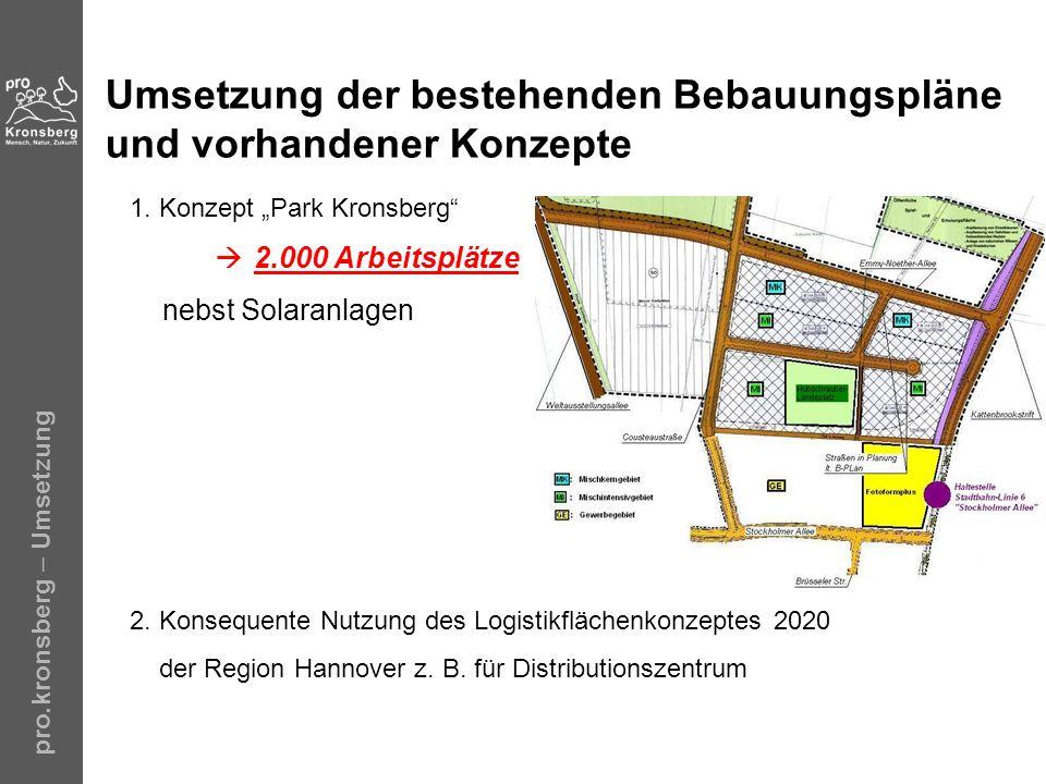 Umsetzung der bestehenden Bebauungspläne und vorhandener Konzepte