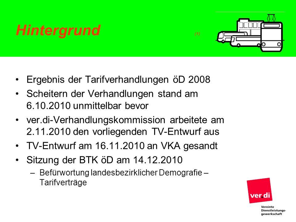 Hintergrund (1) Ergebnis der Tarifverhandlungen öD 2008