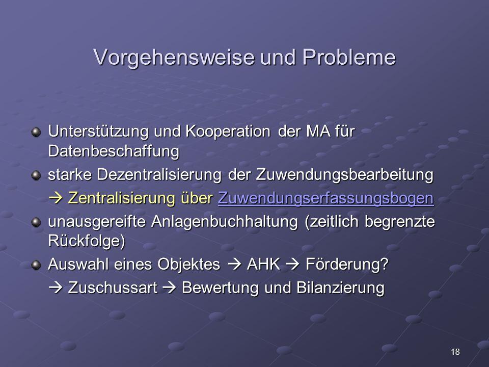 Vorgehensweise und Probleme