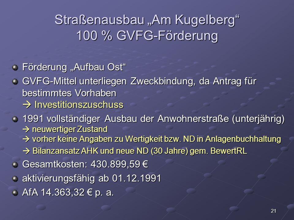 """Straßenausbau """"Am Kugelberg 100 % GVFG-Förderung"""