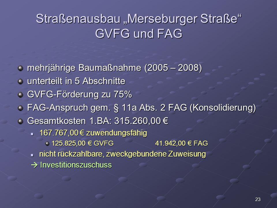 "Straßenausbau ""Merseburger Straße GVFG und FAG"