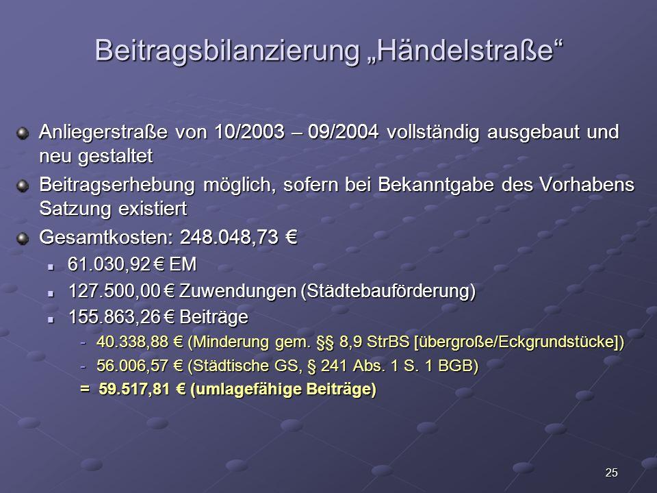 """Beitragsbilanzierung """"Händelstraße"""