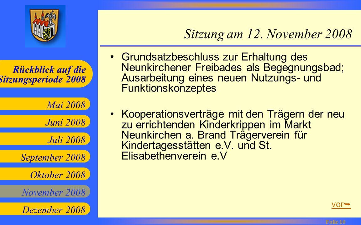Sitzung am 12. November 2008
