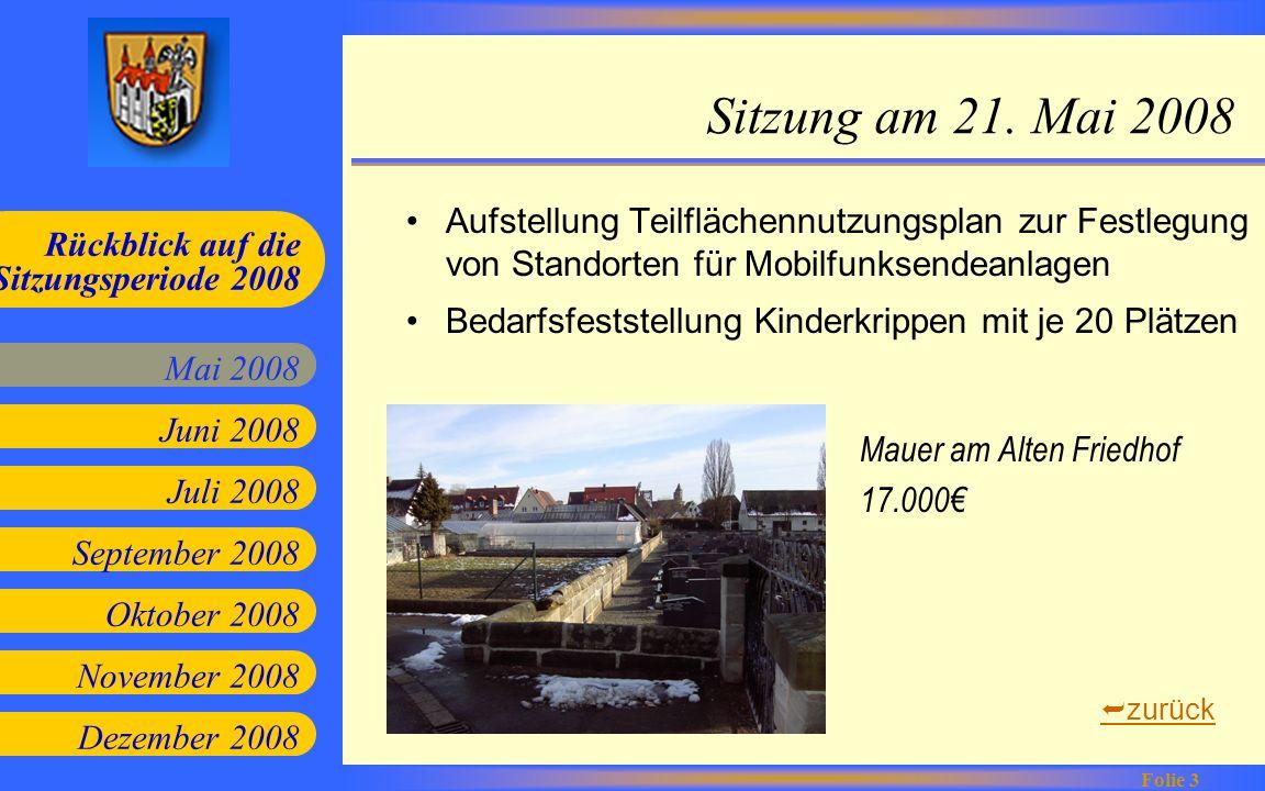 Sitzung am 21. Mai 2008 Aufstellung Teilflächennutzungsplan zur Festlegung von Standorten für Mobilfunksendeanlagen.