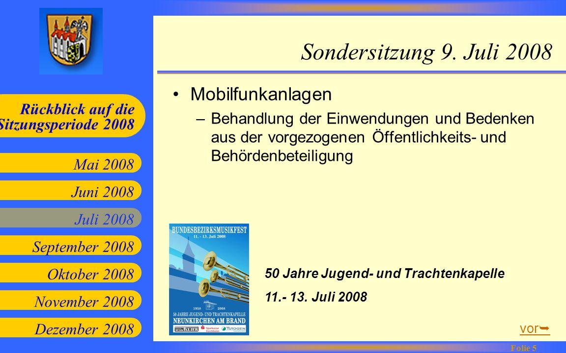 Sondersitzung 9. Juli 2008 Mobilfunkanlagen