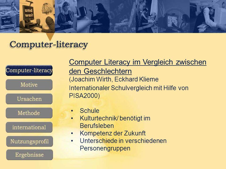 Computer Literacy im Vergleich zwischen den Geschlechtern