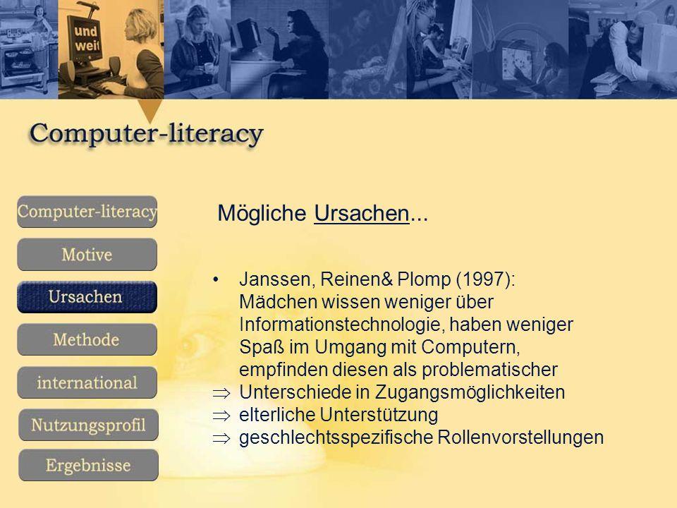 Mögliche Ursachen... Janssen, Reinen& Plomp (1997):