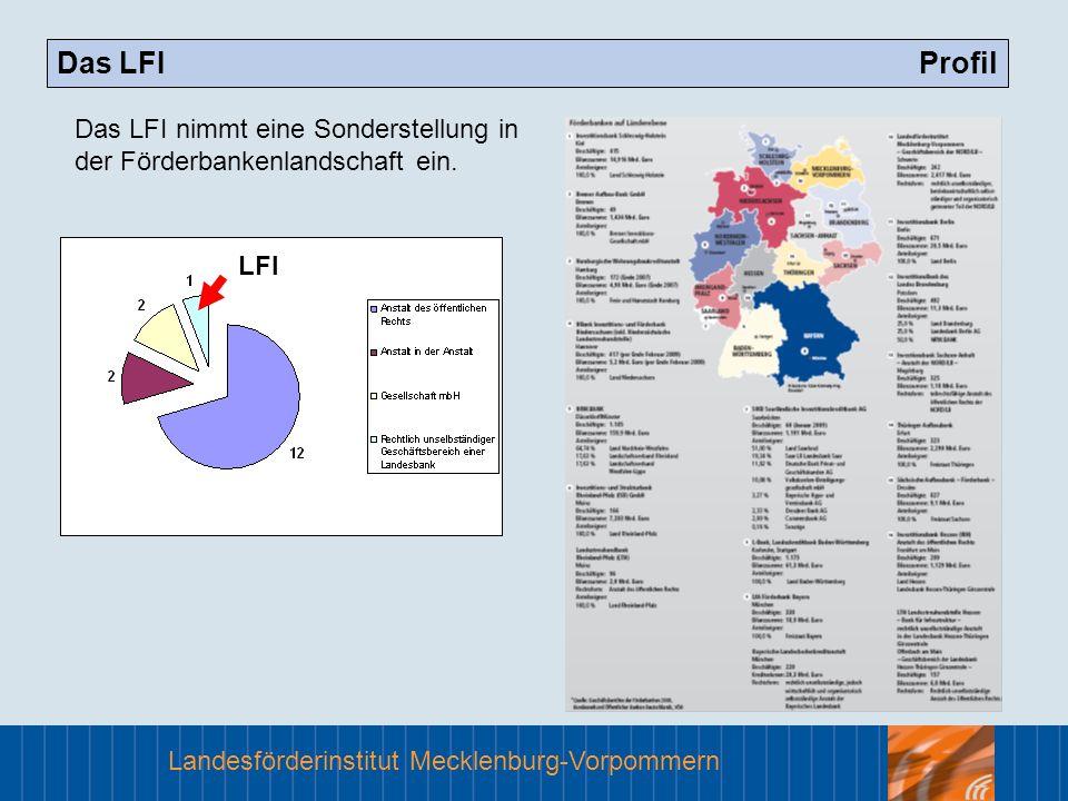 Das LFI ProfilDas LFI nimmt eine Sonderstellung in der Förderbankenlandschaft ein.