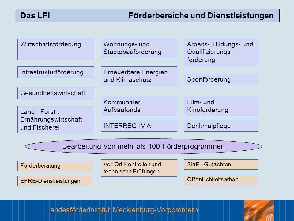Das LFI Förderbereiche und Dienstleistungen