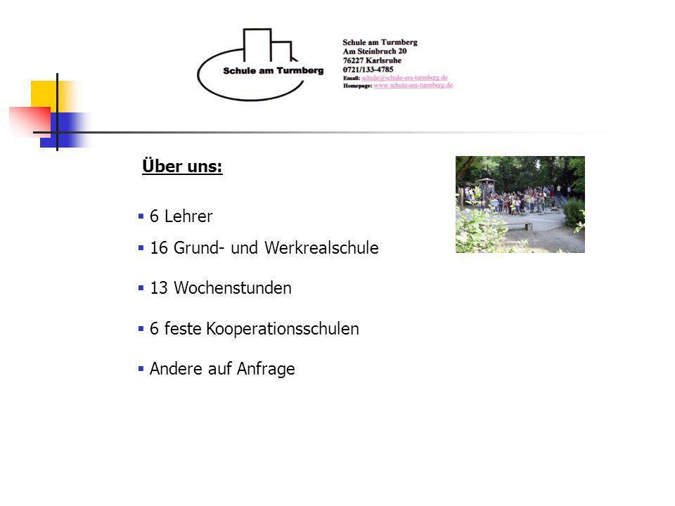 Über uns: 6 Lehrer. 16 Grund- und Werkrealschule. 13 Wochenstunden. 6 feste Kooperationsschulen.