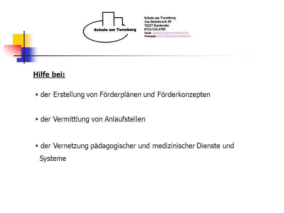 Hilfe bei: der Erstellung von Förderplänen und Förderkonzepten. der Vermittlung von Anlaufstellen.