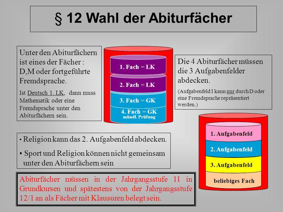 § 12 Wahl der Abiturfächer