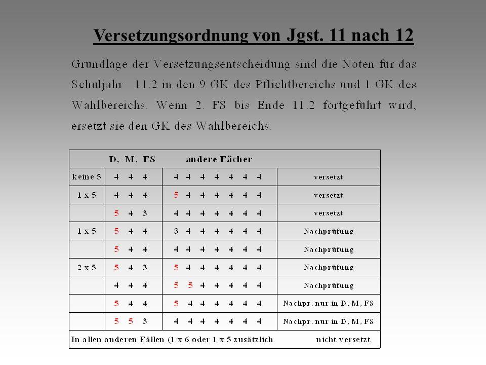 Versetzungsordnung von Jgst. 11 nach 12