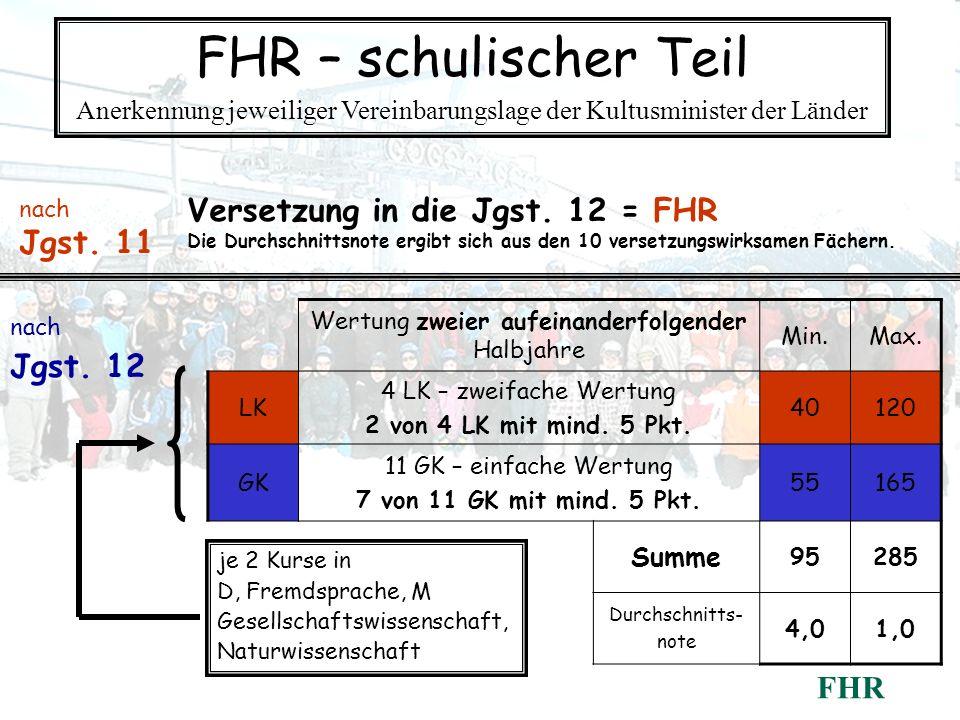 FHR – schulischer Teil Versetzung in die Jgst. 12 = FHR Jgst. 11