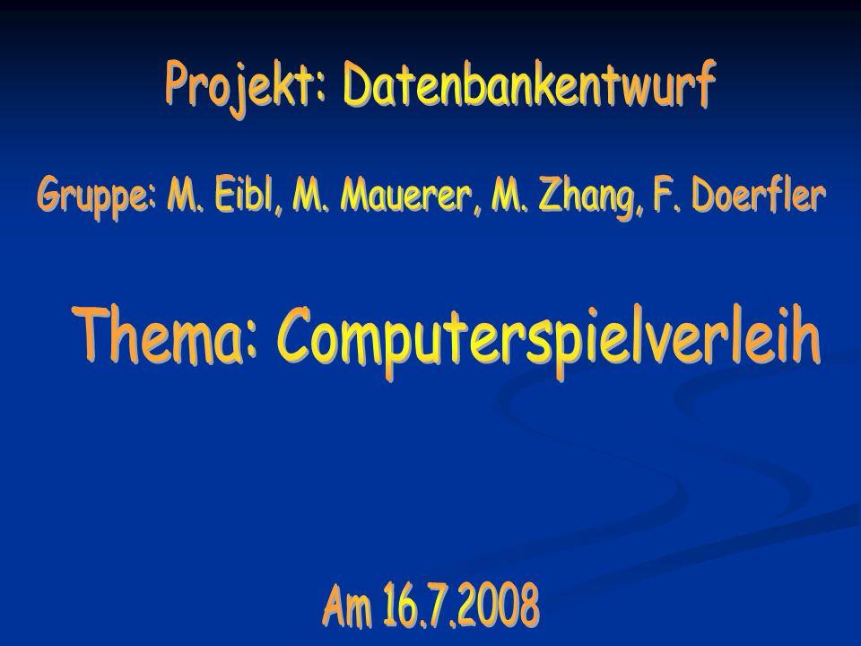 Projekt: Datenbankentwurf