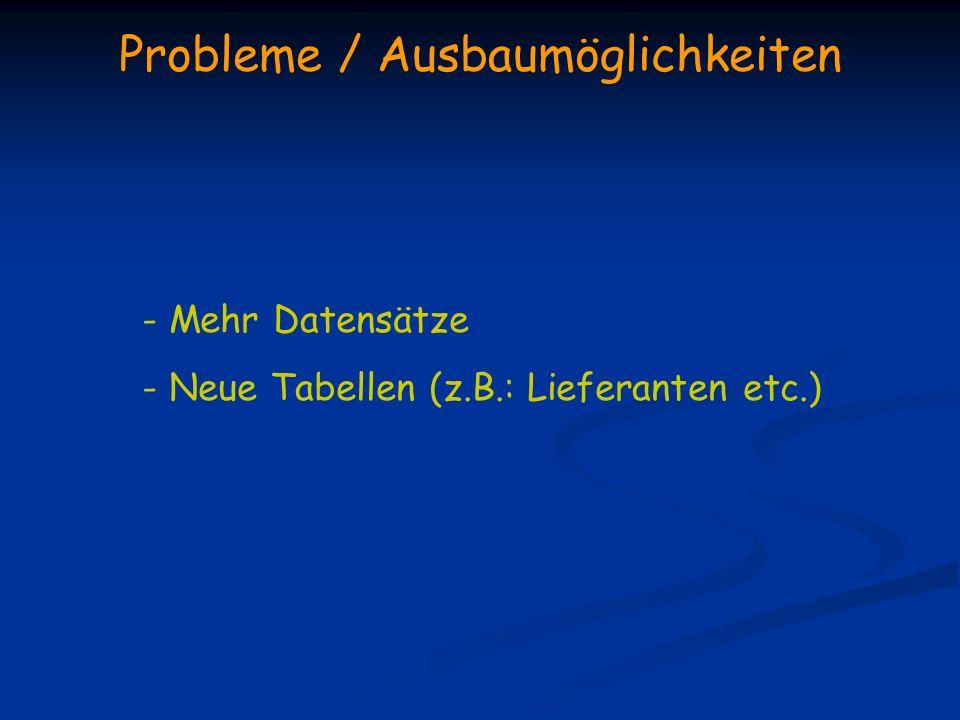 Probleme / Ausbaumöglichkeiten