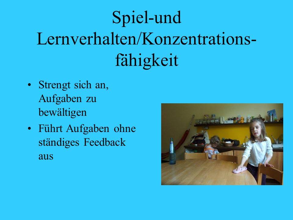 Spiel-und Lernverhalten/Konzentrations- fähigkeit