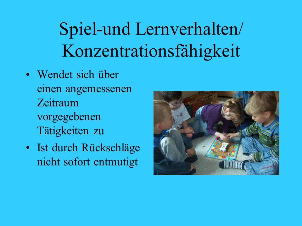 Spiel-und Lernverhalten/ Konzentrationsfähigkeit