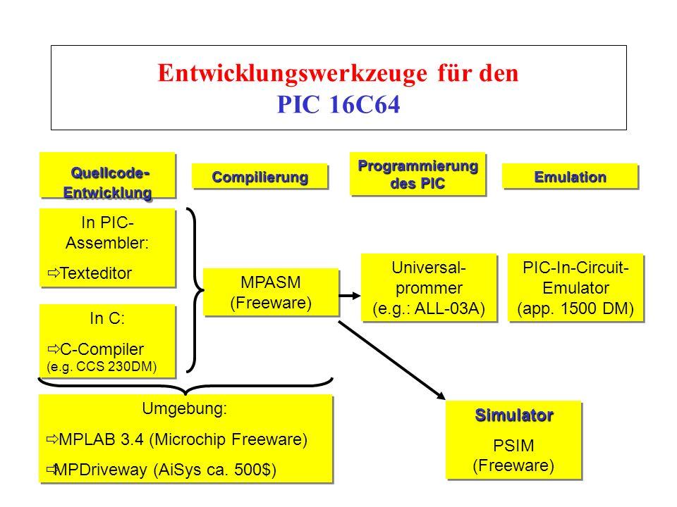 Entwicklungswerkzeuge für den PIC 16C64