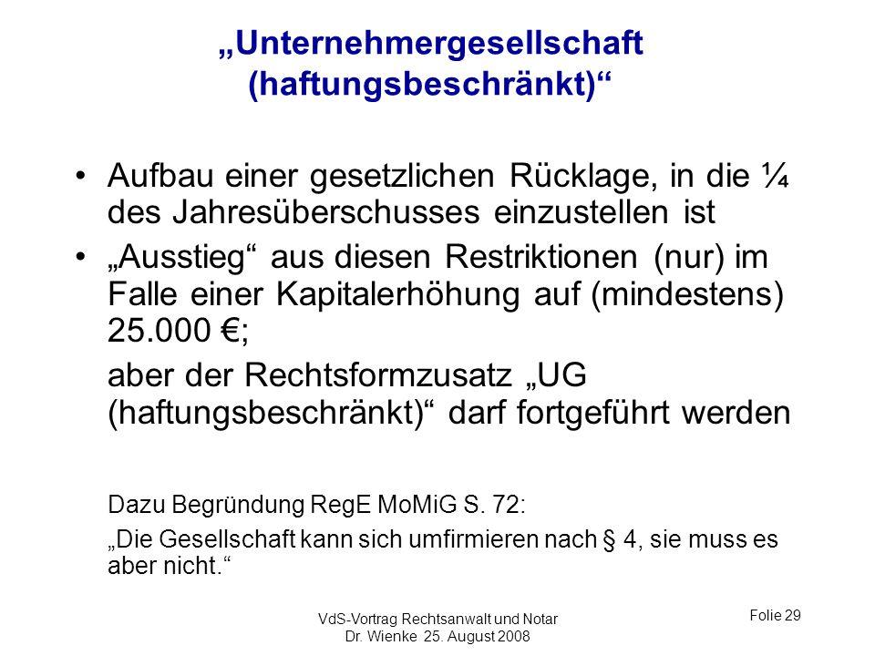 """""""Unternehmergesellschaft (haftungsbeschränkt)"""