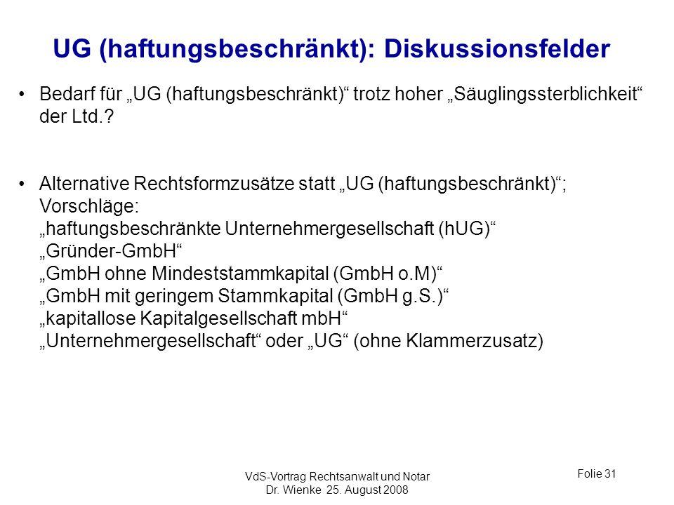 UG (haftungsbeschränkt): Diskussionsfelder