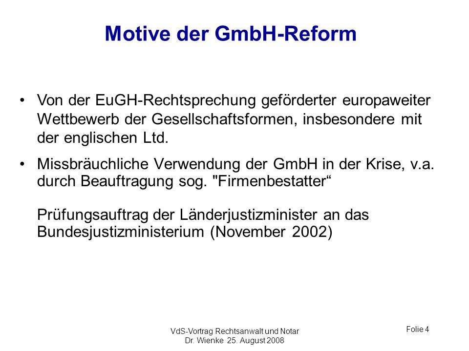 Motive der GmbH-Reform