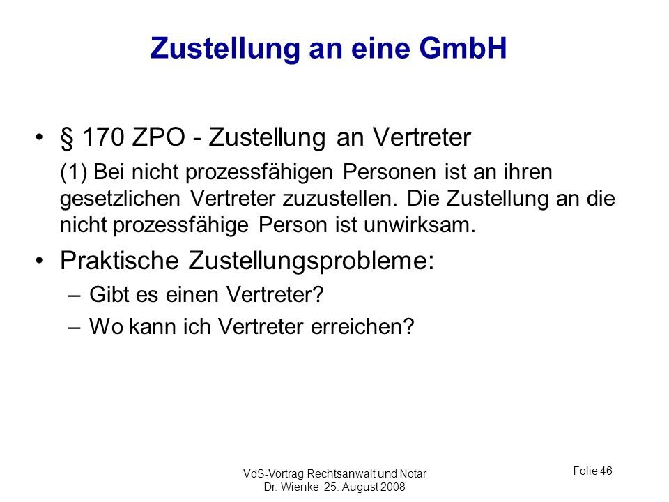 Zustellung an eine GmbH