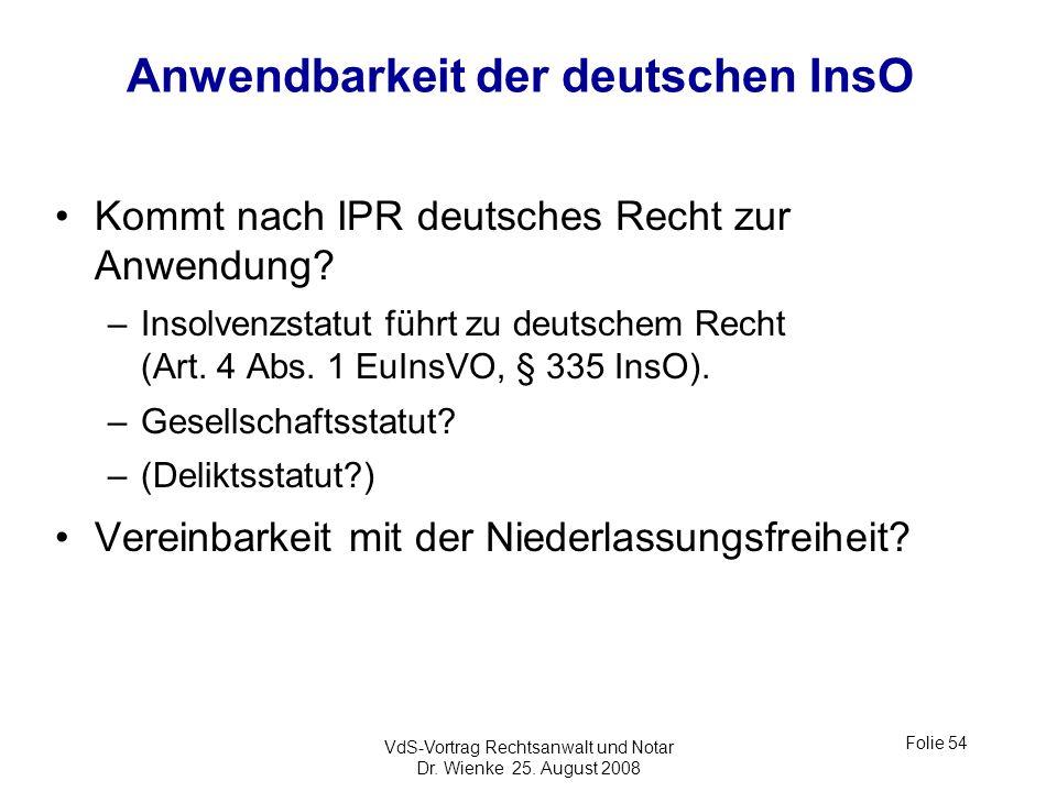 Anwendbarkeit der deutschen InsO