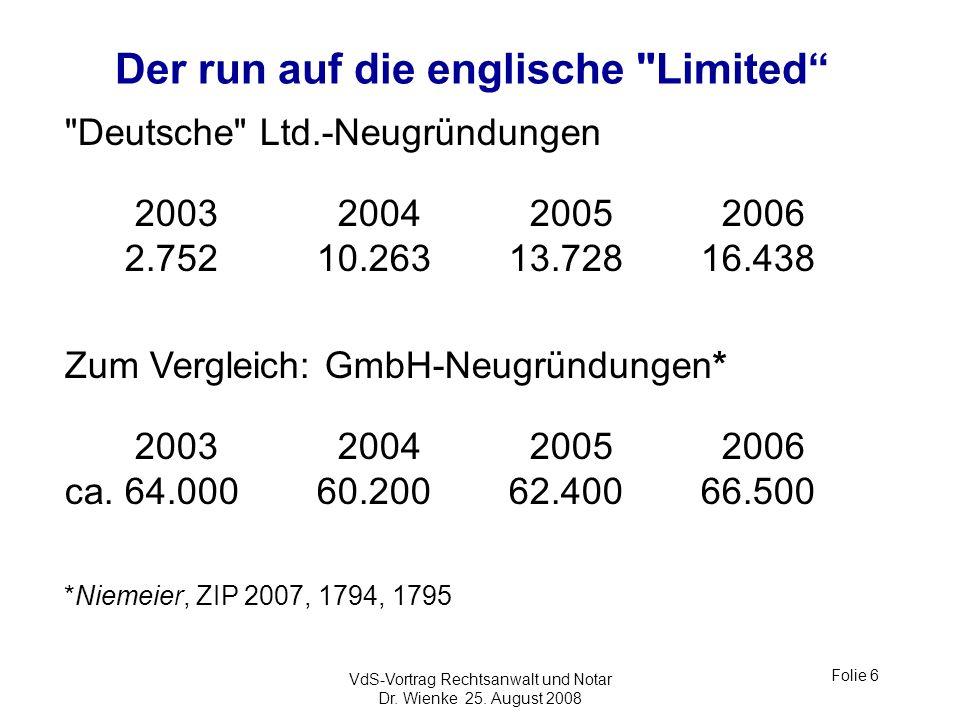 Der run auf die englische Limited