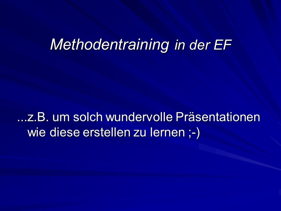 Methodentraining in der EF