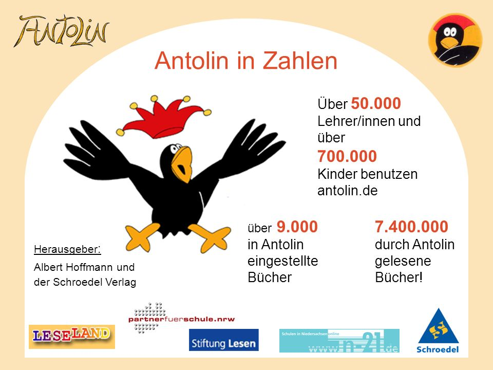 Antolin in Zahlen 7.400.000 durch Antolin gelesene Bücher!