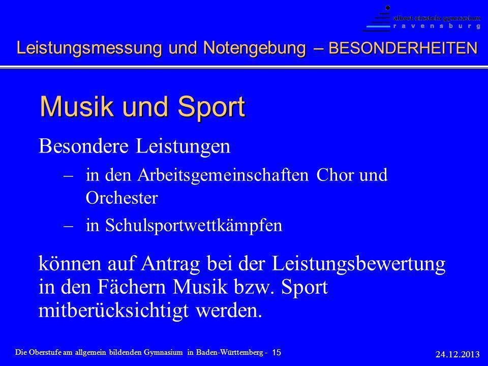 Musik und Sport Besondere Leistungen