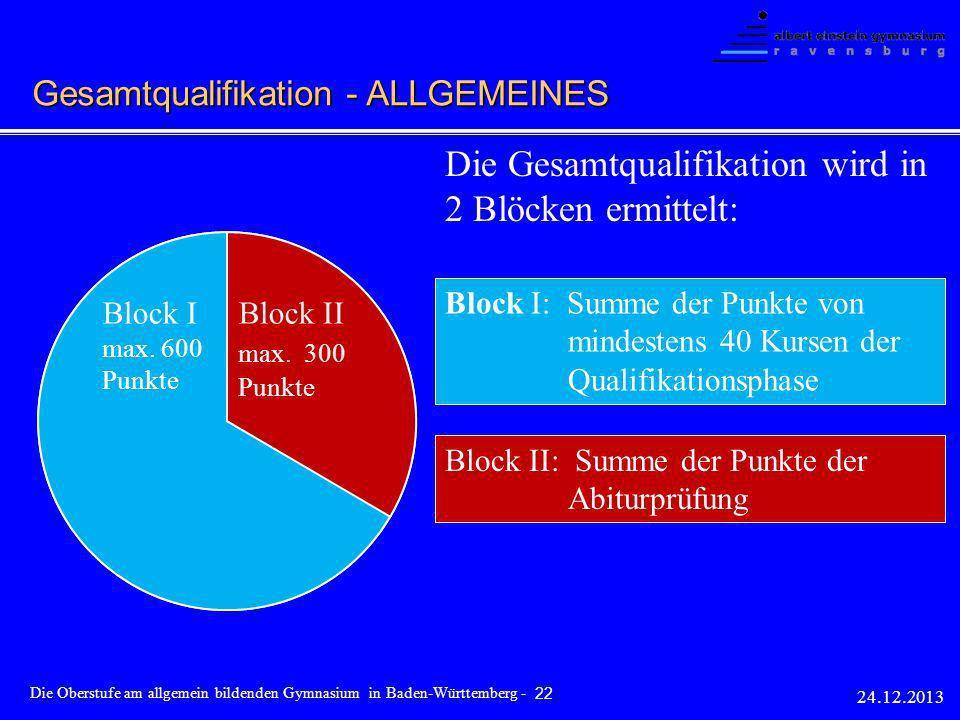 Die Gesamtqualifikation wird in 2 Blöcken ermittelt: