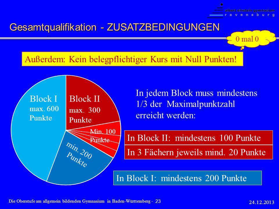 Gesamtqualifikation - ZUSATZBEDINGUNGEN