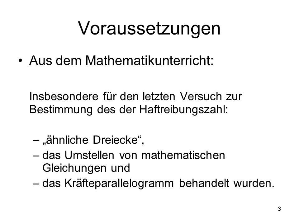 Voraussetzungen Aus dem Mathematikunterricht: