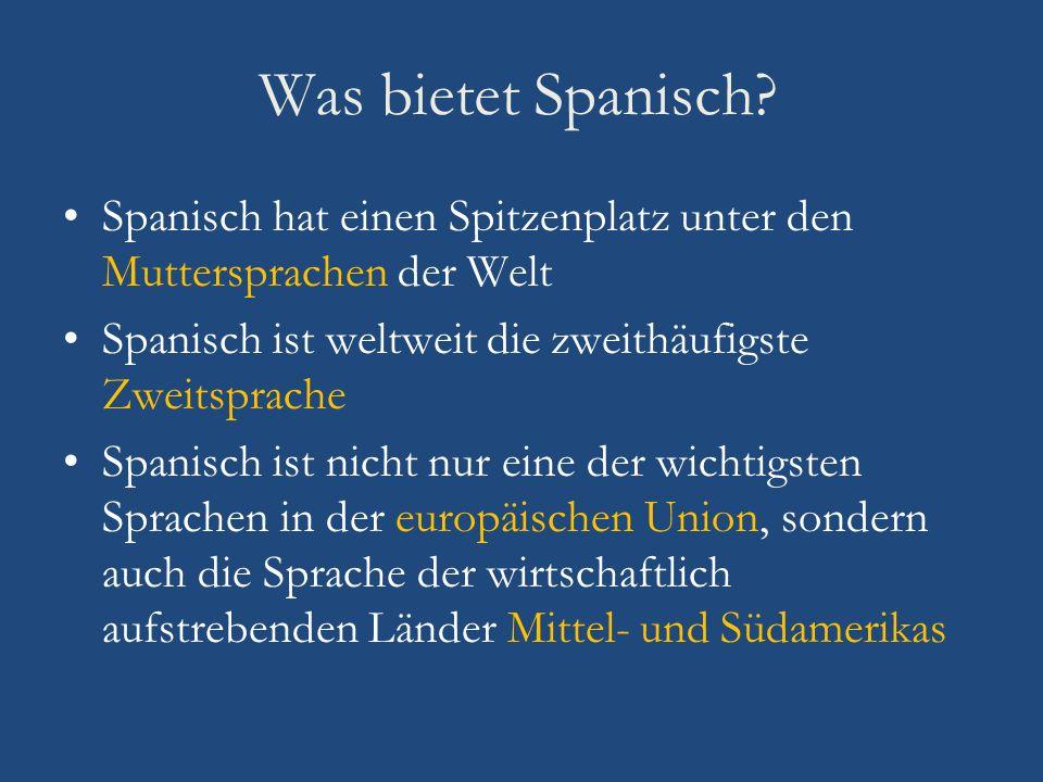 Was bietet Spanisch Spanisch hat einen Spitzenplatz unter den Muttersprachen der Welt. Spanisch ist weltweit die zweithäufigste Zweitsprache.