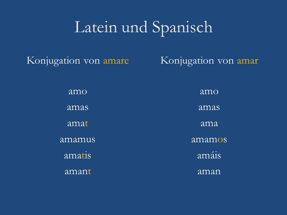 Latein und Spanisch Konjugation von amare Konjugation von amar amo