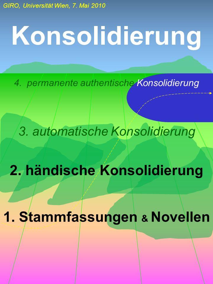 2. händische Konsolidierung 1. Stammfassungen & Novellen