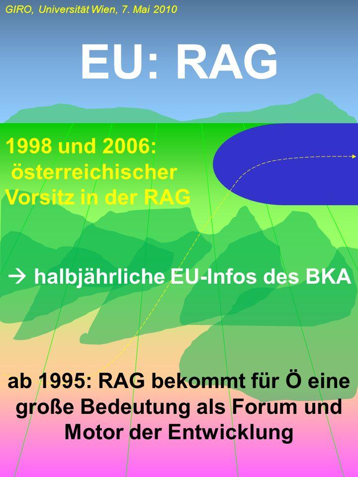 EU: RAG 1998 und 2006: österreichischer Vorsitz in der RAG