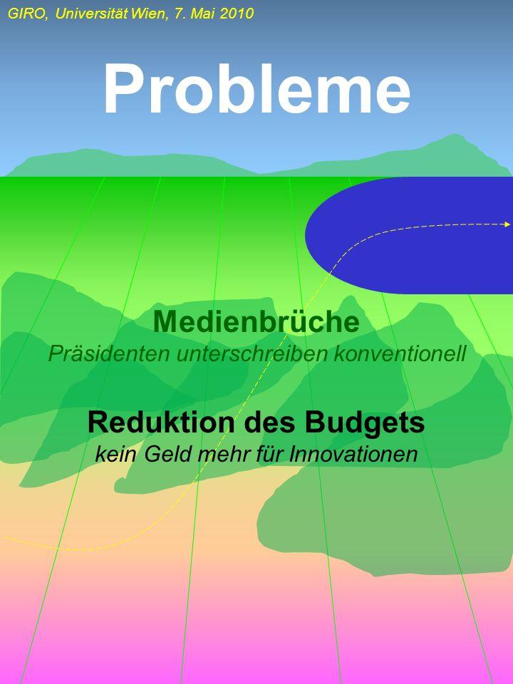 Probleme Medienbrüche Reduktion des Budgets