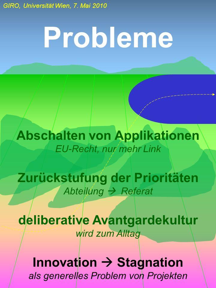 Probleme Abschalten von Applikationen Zurückstufung der Prioritäten