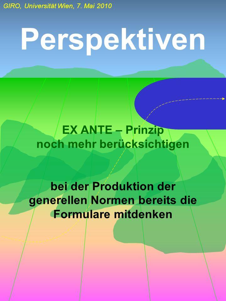 Perspektiven EX ANTE – Prinzip noch mehr berücksichtigen