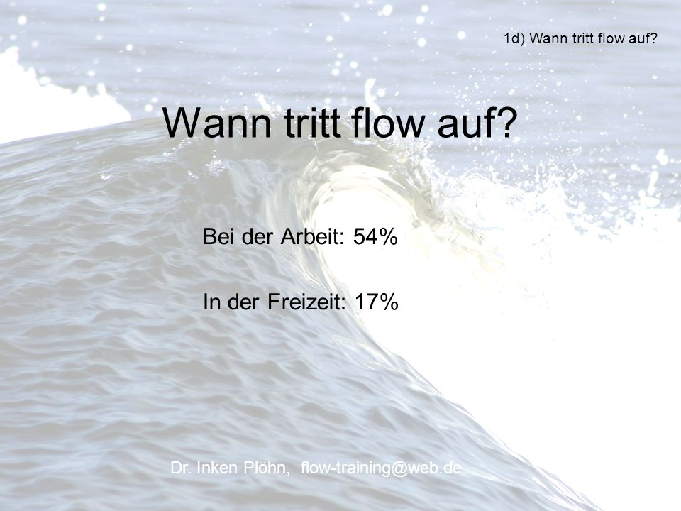 Wann tritt flow auf Bei der Arbeit: 54% In der Freizeit: 17%