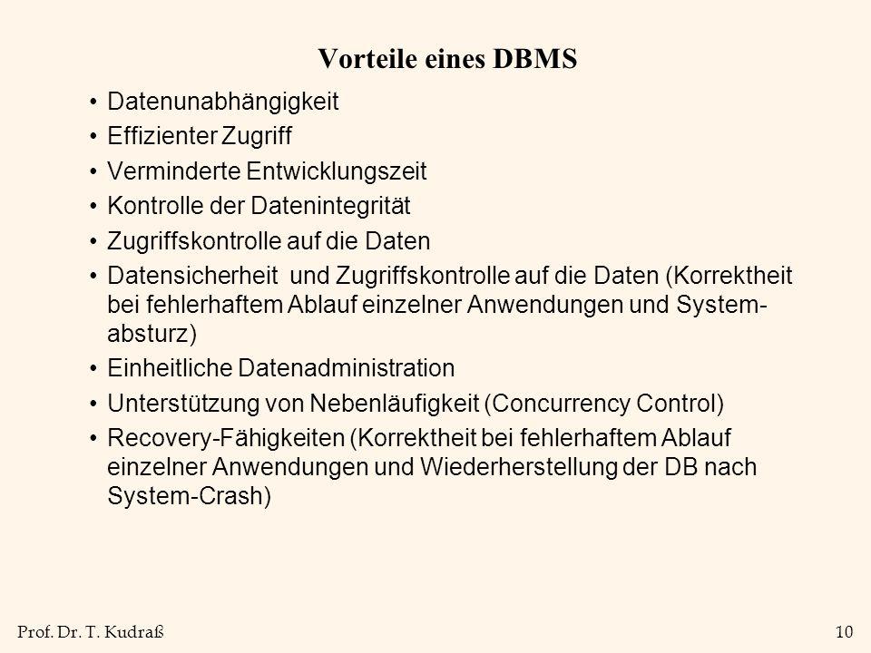 Vorteile eines DBMS Datenunabhängigkeit Effizienter Zugriff
