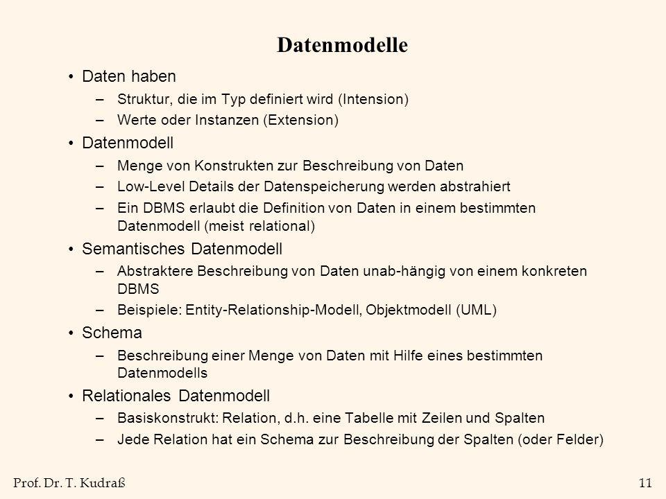 Datenmodelle Daten haben Datenmodell Semantisches Datenmodell Schema